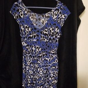 NWOT Lined Bunched Waist Blue Animal Print Dress
